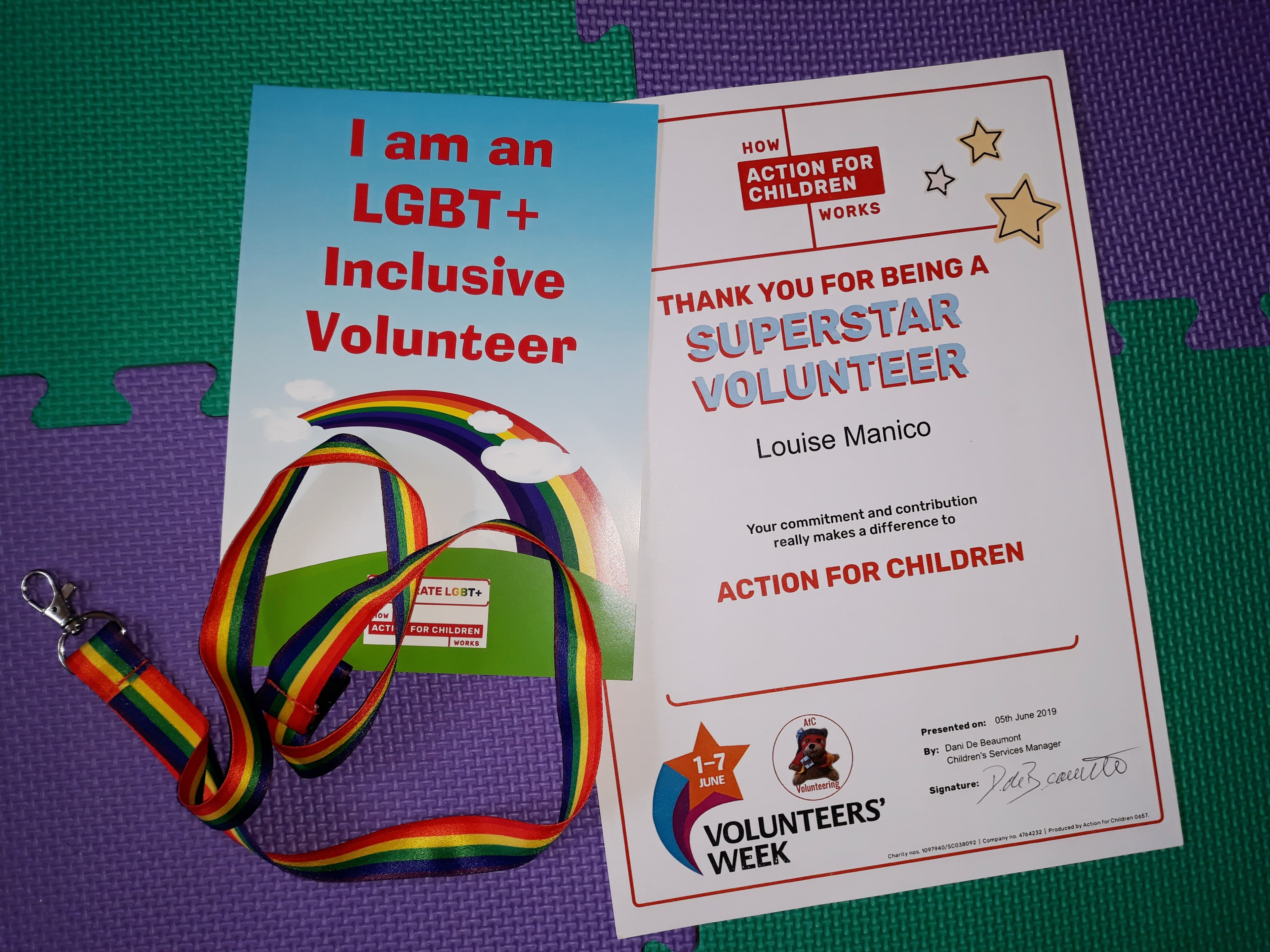 Certificate of thanks from Action for Children
